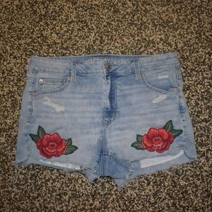 AE Denim Hi Rise Shortie with Rose Patches
